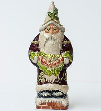 Vaillancourt Chalkware Santa - Santa Holding a Decorative Swag