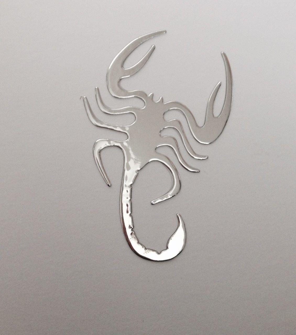 SKS Distribution® - Adesivo 3D a motivo scorpione, cromato in argento, per auto SKS Distribution®