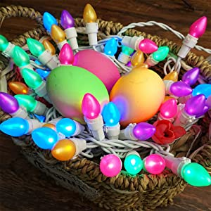 BOHON Easter Lights 50 LED String Lights Multi Color Indoor Christmas Lights with White Wire for Bedroom Outdoor Patio Party Carnival Tree Decor Easter Decorations(C3 Glass Bulbs)