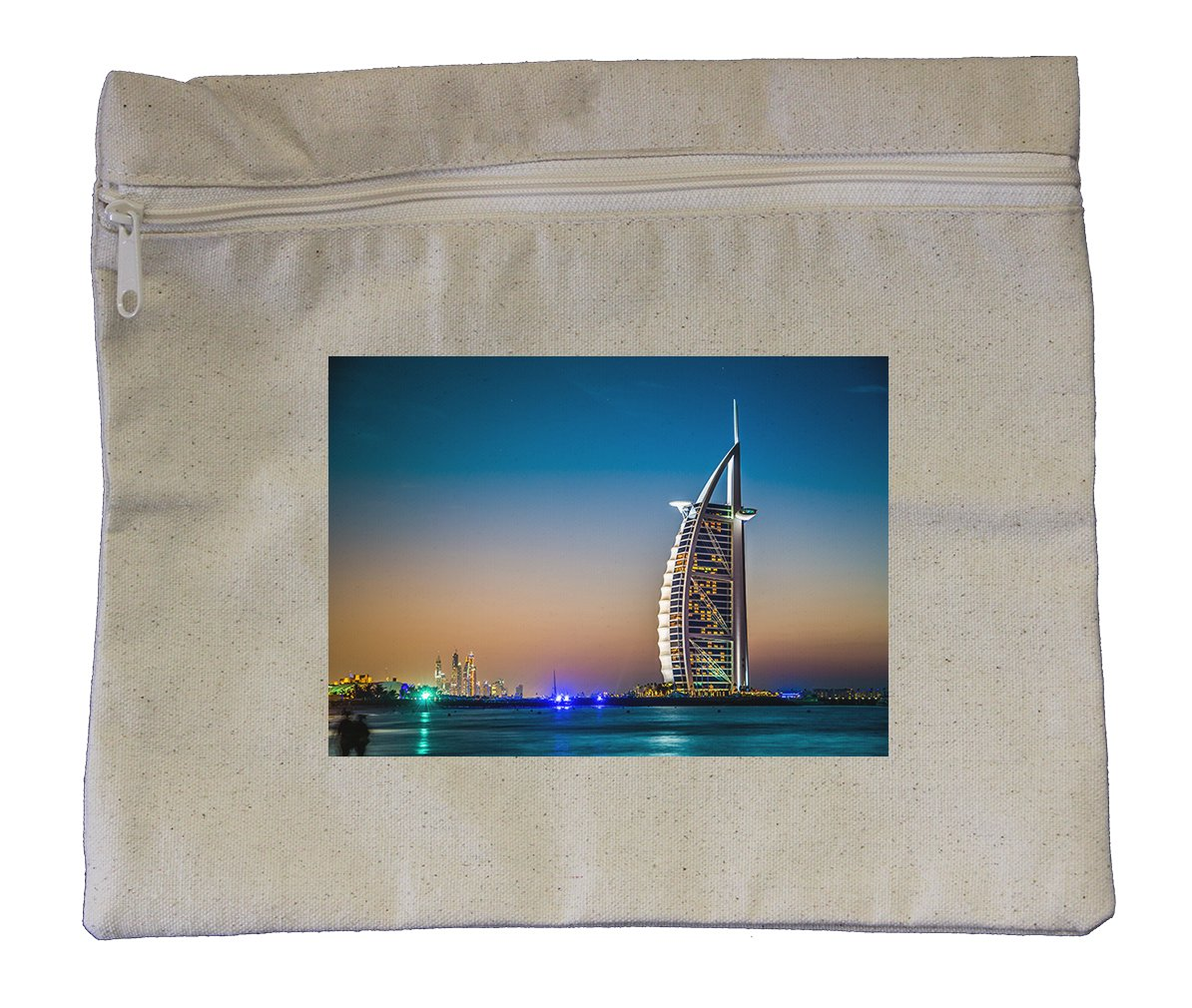 Canvas Zipper Pouch Tote Bag 10''X12'' Burj Al Arab 5 Stars Hotel Style In Print