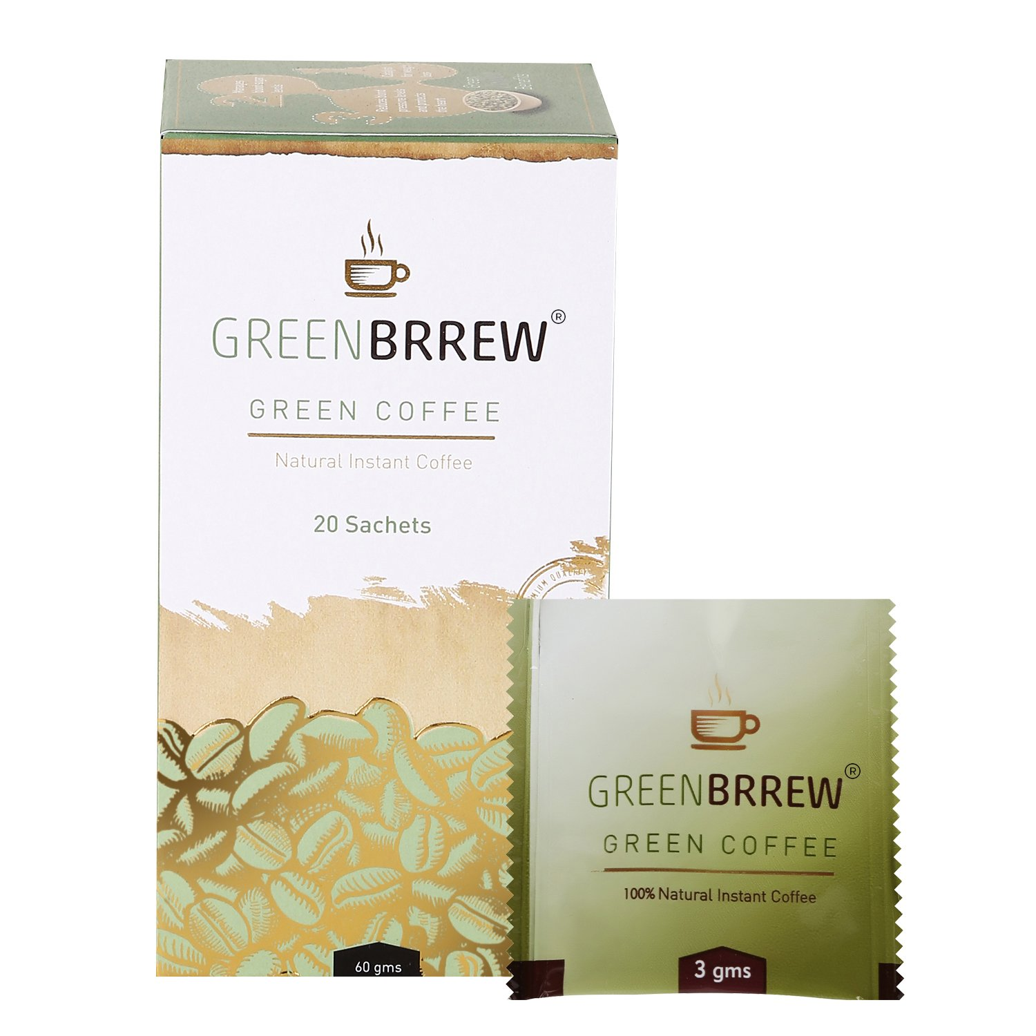 Greenbrrew Natural Instant Green Coffee For Weight Loss - 20 Sachets