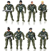 Hautton Soldier Action Figures Toy, 8 Action Men with Weapons Accessories, Removable Body Adjustable Arms Legs Playset…