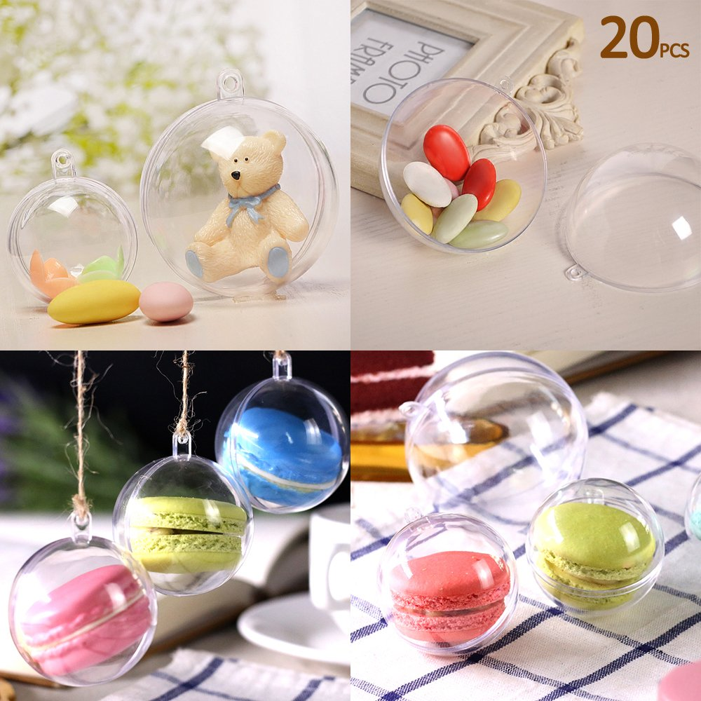 20pcs Christmas Tree Baubles Decorations Clear Round Glass Fillable Plastic Craft Balls Ornaments (8CM) Clear-Bauble