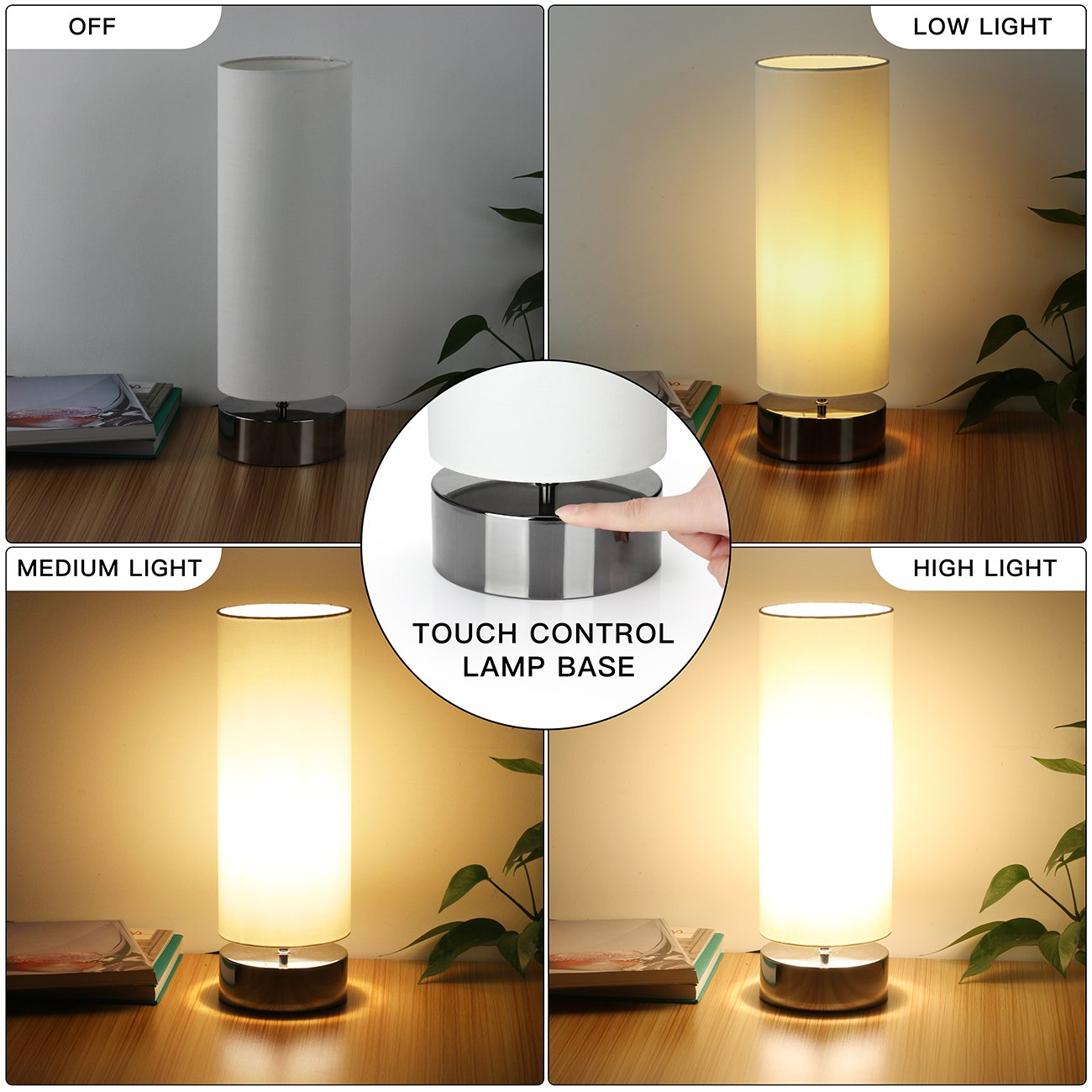 Touch Control Table Lamp Bedside Minimalist Desk Lamp Modern Accent Lamp Dimmable Touch Light with Cylinder Lamp Shade Night Light Nightstand Lamp for Bedroom Living Room Kitchen, E26 Bulb Included by Seaside village (Image #3)