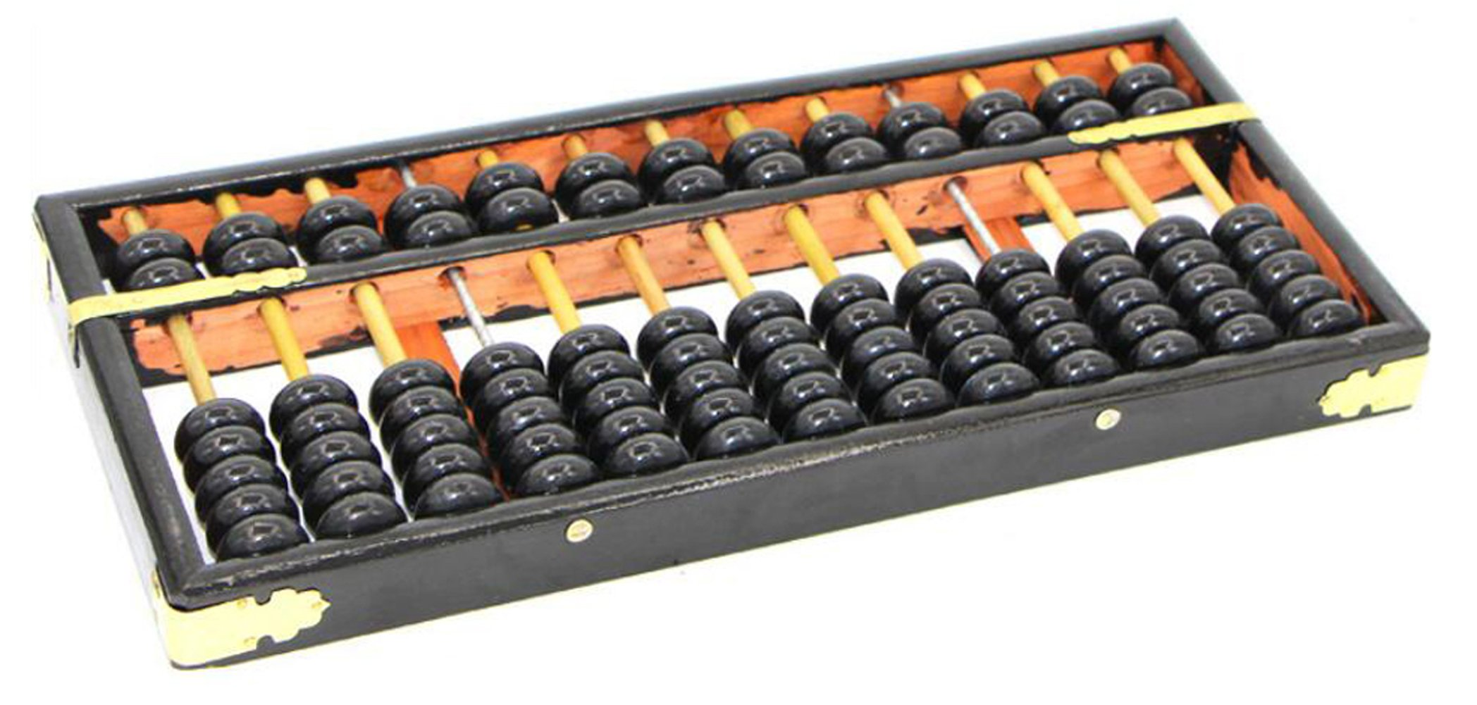 1Pcs Chinese Traditional Abacus-Wooden Math Calculate Tool with Alloy Corners Suitable For Calculater Pupil Arithmetic and Professional Accountants(Black)