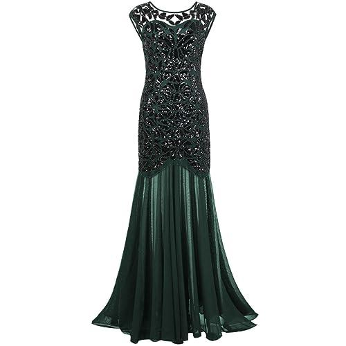 kayamiya Womens 1920s Beaded Sequin Floral Maxi Long Gatsby Flapper Prom Dress