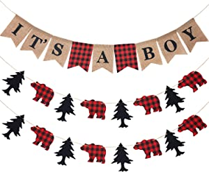 3 Pieces It's a Boy Banner Lumberjack Theme Banner Buffalo Plaid Banner Garland Woodland Animal Camping Banner for Baby Shower Lumberjack Party Supplies Hunting Party Birthday Parties
