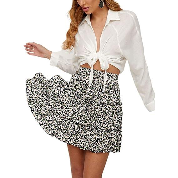 AIYIYOO Falda de Mujer de Cintura Alta con cordón y Volantes ...