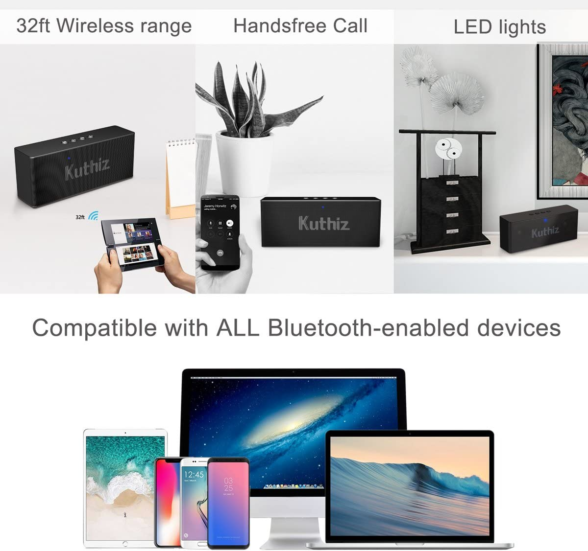 Outdoor Speakers for iPhone iPad Handsfree Call Black Portable Bluetooth Speakers,Forcovr Wireless Speaker with Bluetooth V4.2,Built-in Dual Driver Speakerphone Samsung etc