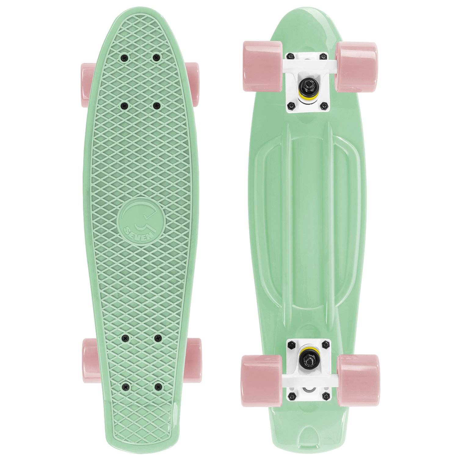 Cal 7 Complete Mini Cruiser | 22 Inch Micro Board | Vintage Skateboard for School and Travel (Salsa) by Cal 7