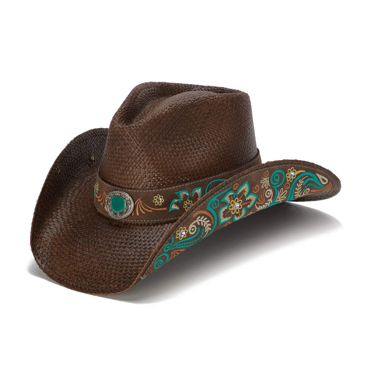 Stampede Hats Women's Sky Action Blue Floral Embroidered Western Hat M Brown