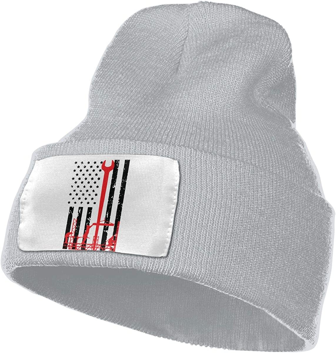 TAOMAP89 Ironworker America Flag Women and Men Skull Caps Winter Warm Stretchy Knitting Beanie Hats