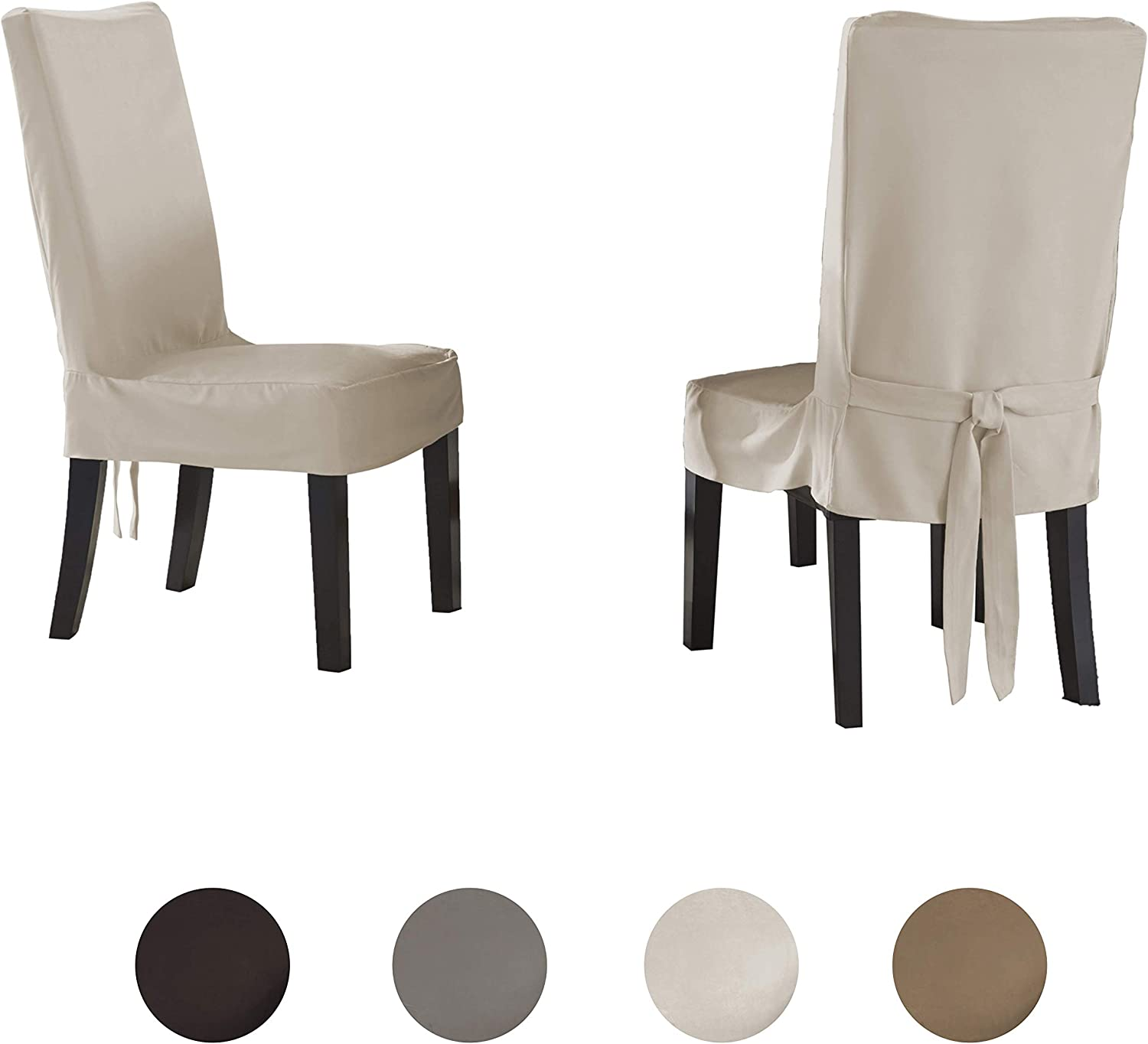 Amazon Com Serta Relaxed Fit Smooth Suede Furniture Slipcover For Dining Room Chair Short Skirt Ivory Home Kitchen