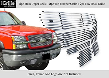304 Stainless Steel Billet Grille Combo Fits 03-05 Chevy Silverado 1500//HD//2500