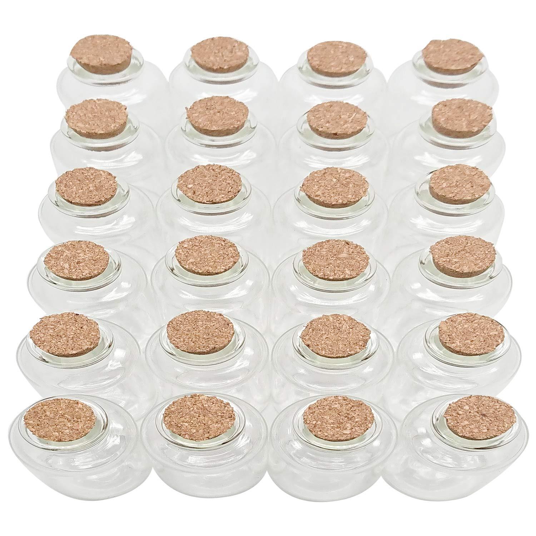 Axe Sickle 30 mL Cork Stopper Glass Bottles 1 Ounce Clear Glass Bottles 24 Pcs.