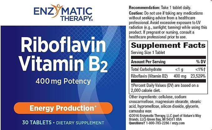 Riboflavina Vitamina B2, producción de energía, 400 mg, 30 comprimidos - terapia enzimática: Amazon.es: Salud y cuidado personal
