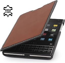 StilGut Book Type, Housse, étui, Coque en Cuir pour Blackberry Passport, en Marron - Noir/Nappa