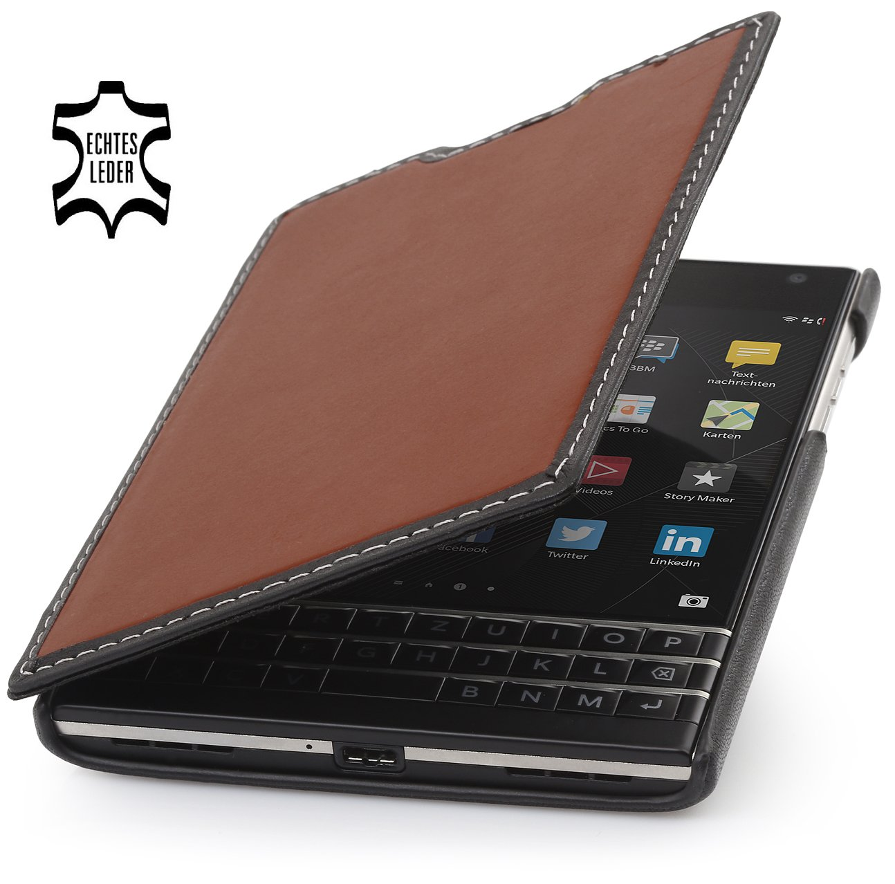 StilGut Book Type, Genuine Leather Case for BlackBerry Passport, Brown & Black Nappa