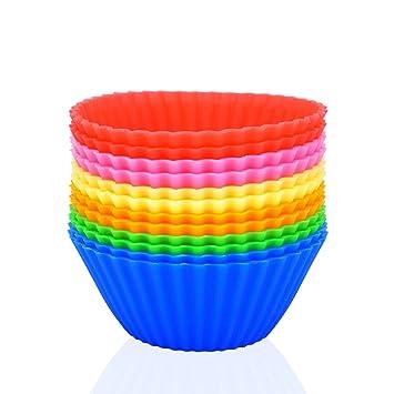 Silicona/hornear moldes para cupcakes vasos Vibrant Muffin Moldes en tarro de almacenamiento, pack de 12: Amazon.es: Hogar