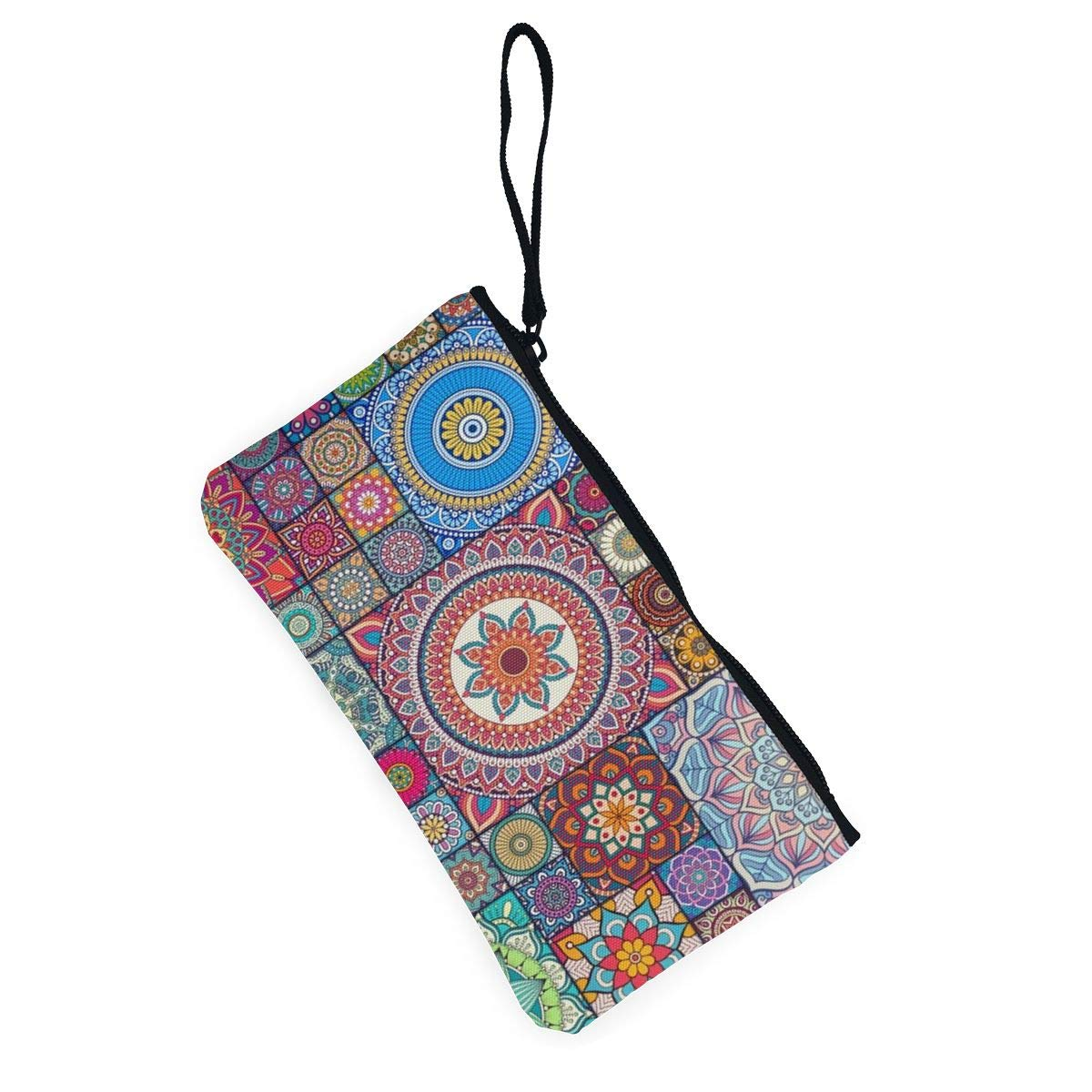 Canvas Cash Coin Purse,Mandala Bright Print Make Up Bag Zipper Small Purse Wallets