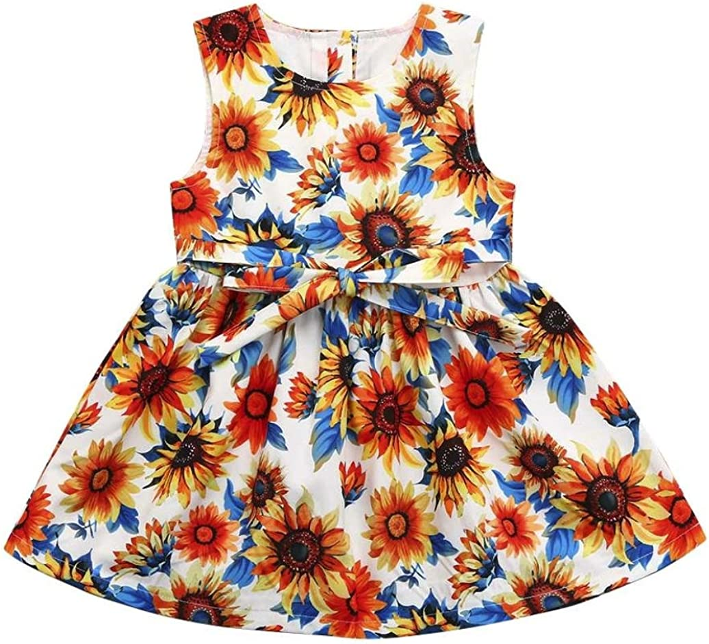 Dinlong Infant Toddler Baby Girls Summer Casual Clothes Sunflower Sleeveless Button-up Dress Outfits