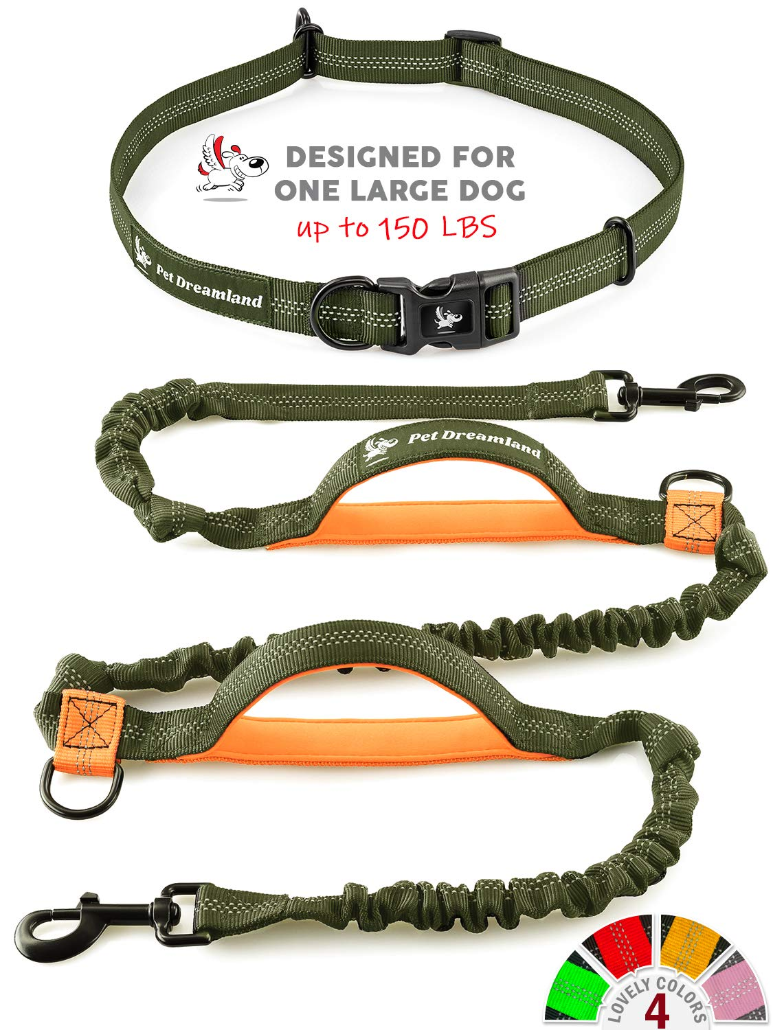 Pet Dreamland Hands Free Leash for Dog Walking - Medium to Large Dogs (up to 150lbs) - Shock Absorbing Bungee Dog Leashes - Reflective Waist Dog Running Leash by Pet Dreamland