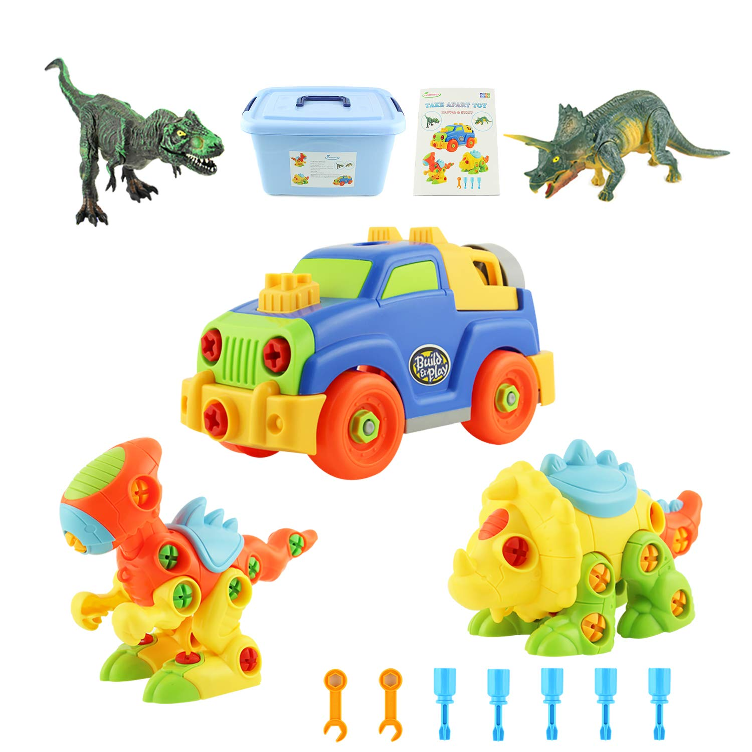 MEIGO Dinosaur Toys - Toddlers STEM Learning Take Apart Toys Construction Engineering Building Play Set for Kids 3 4 5 6 Year Old Boys Girls (5 Pack)