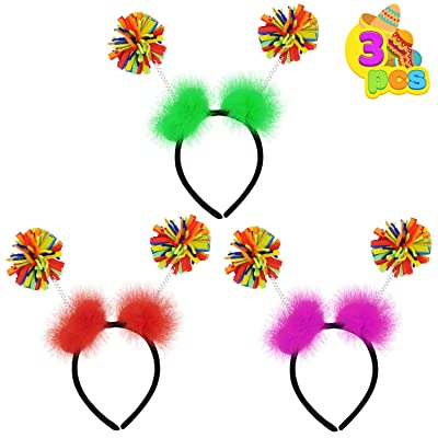 3 PCS Cinco de Mayo Headband Fiesta Pom Pom Headbopper Set for Party Favor Themed Parties Fiesta Party Supplies, Luau Event Photo Props, Mexican Theme for Carnivals and Festivals, Dia De Muertos: Clothing
