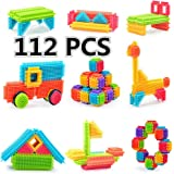 Bristle Building Blocks Toy, ihoven 112 PCS Educational Bristle Building Tiles Blocks Set Bristle Stacking Construction Toys Kit for Toddlers and Kids - ABS Safety Plastic - Delicate Gift Box