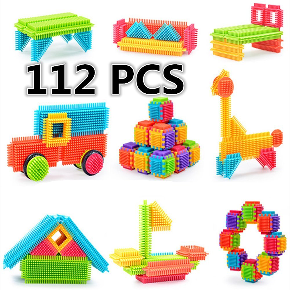 Bristle Building Blocks Toy, ihoven 112 PCS Educational Bristle Building Tiles Blocks Set Bristle Stacking Construction Toys Kit for Toddlers and Kids - ABS Safety Plastic - Delicate Gift Box Review