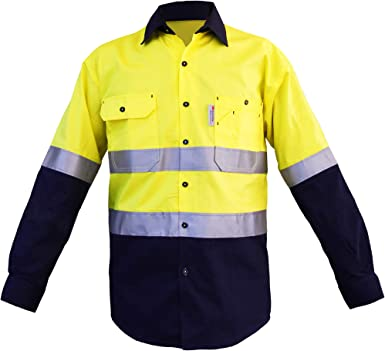 Amazon Com Mens High Visibility Shirts With 3m Scotchlitetm Reflective Tape 100 Cotton Long Sleeve 2 Tone Block Color Clothing