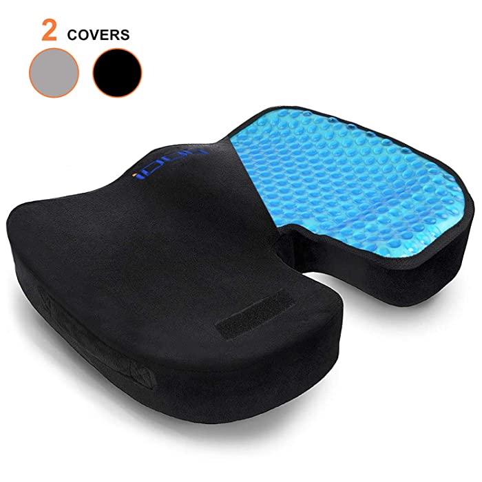 iDOO Seat Cushion Chair Cushion Gel Memory Foam Seat Cushion, Cooling Cushion for Office Chair Car Wheelchair Seat - Coccyx Seat Pillow for Back Pain, Tailbone Pain, Sciatica Pain - Black