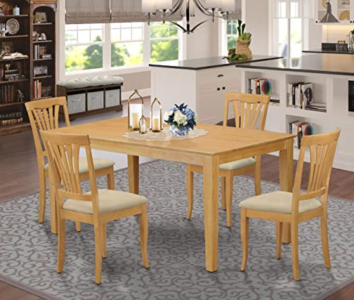 East West Furniture CAAV5-OAK-C Rectangular Dining Table Set 5 Pc