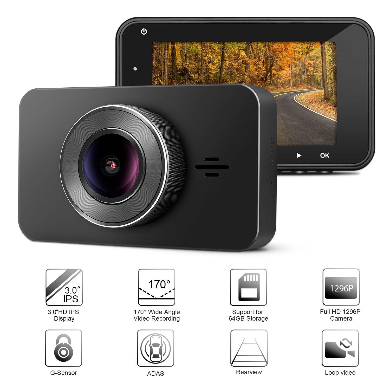 Registratore di Guida Auto, Panlelo D3 Car Dash Fotocamera 170 ° Telecamera Grandangolare DVR HD 1296P Videocamera Cam 3 pollici Auto Video Recorder F2.0 ADAS WDR
