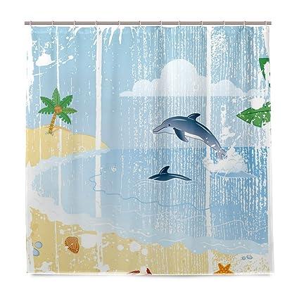 Amazon.com: Vantaso Shower Curtains 72x72 Vintage Dolphin On Ocean ...