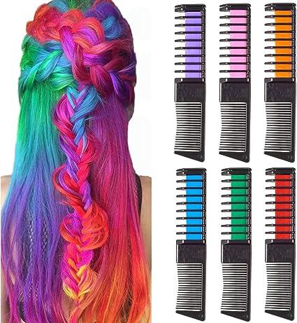 Tiza de Pelo, SIGHTLING 6 Colores Peine de Tiza de Pelo Temporal Cabello Tiza Color Set Tinte no tóxico Color de Tiza Para Niños DIY Fiesta y Cosplay