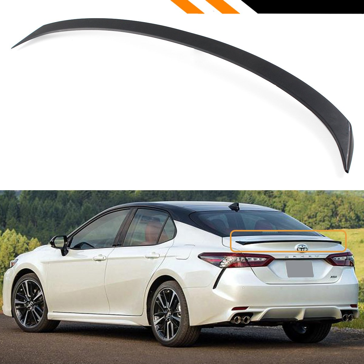amazon com cuztom tuning for 2018 2019 toyota camry le xle se xse hybrid sport style rear trunk lid spoiler wing primer matt black finish automotive