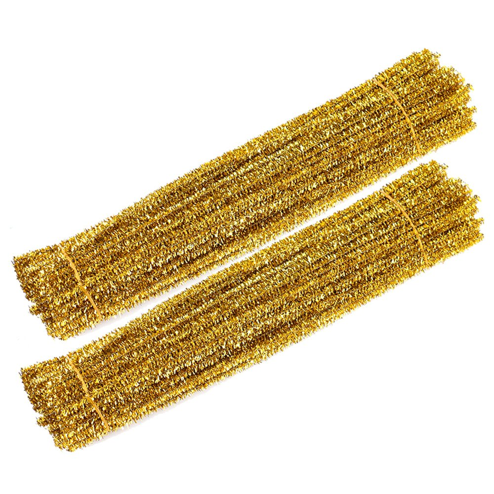 WIWAPLEX 200pcs 12 X 6mm Glitter Tinsel Creative Arts Chenille Stems Sparkle Pipe Cleaners for DIY Craft Projects (Gold)