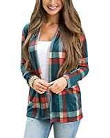Women Plaid Print Elbow Patch Draped Open Front Cardigan Sweater