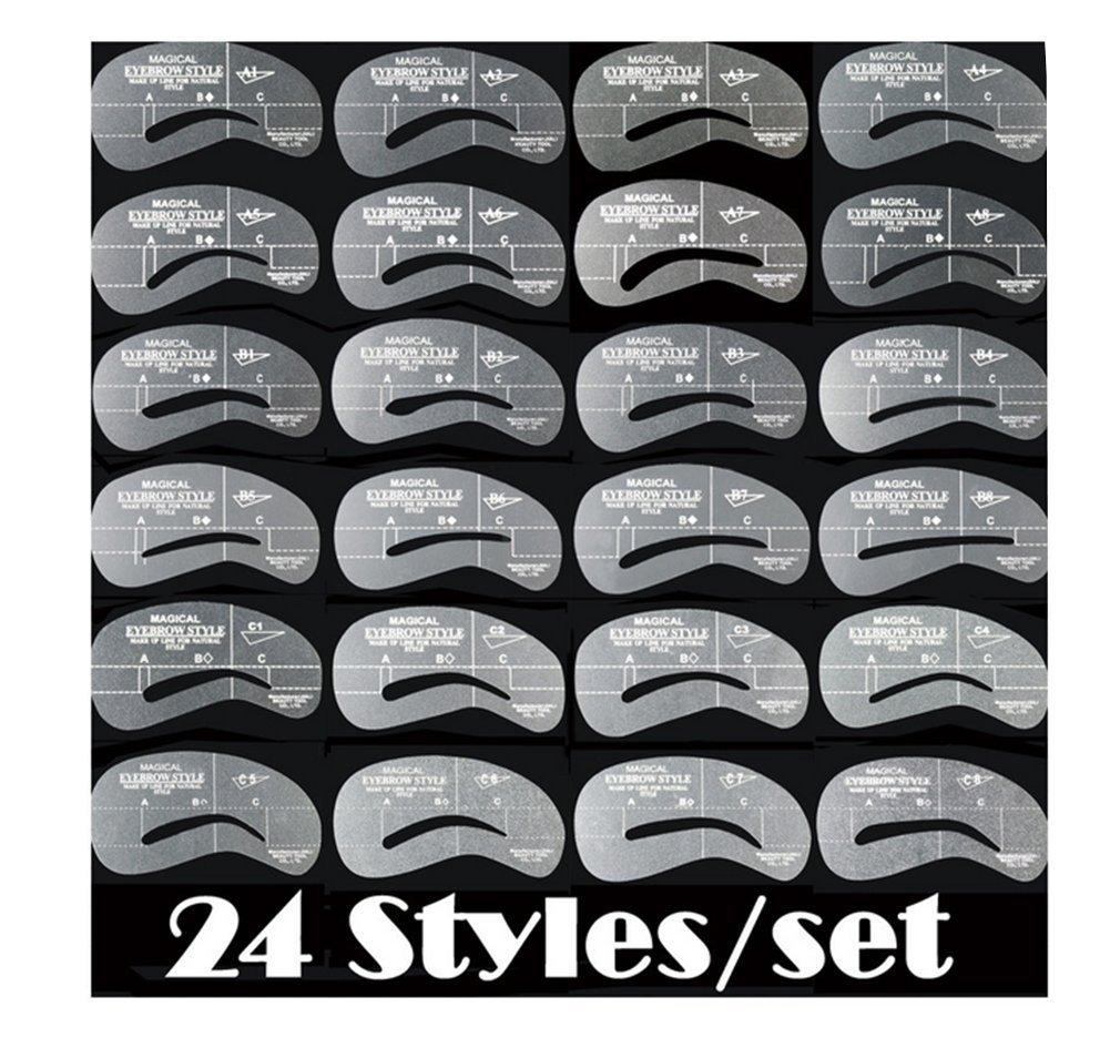Distinct® 24 Styles/Set Eyebrow Grooming Stencil Kit Make Up Shaping Template DIY Tools