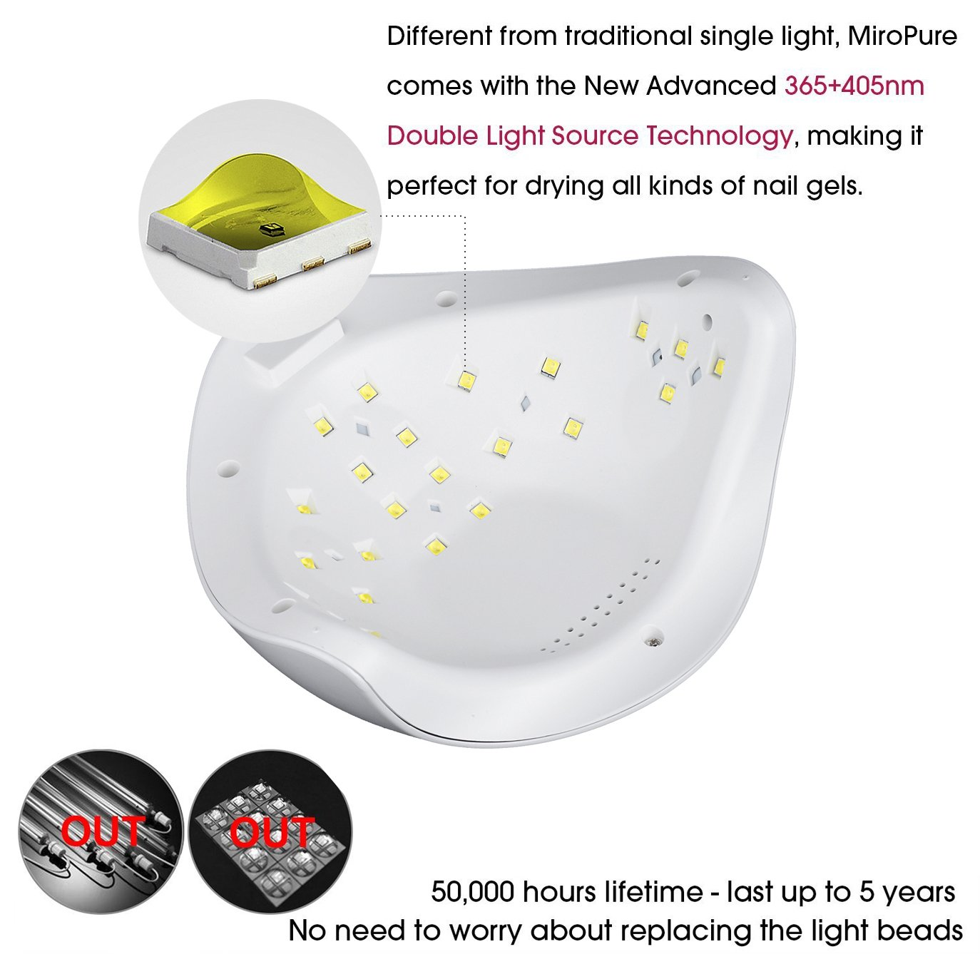 Vinteky® 48W Secador de uñas Lámpara LED Manicura Lámpara solar de uñas LED de Infrarrojos Sensores UV Máquina de la Terapia de Luz Apto para uñas de manos ...