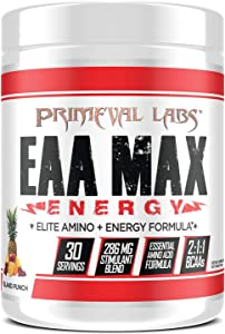 Primeval Labs EAA Max Energy, Muscle Energy & Nutrient Delivery, Enhances Muscle Protein Synthesis, Boosts Performance, Improves Focus, Supports Energy Production, Island Punch, 30 Servings