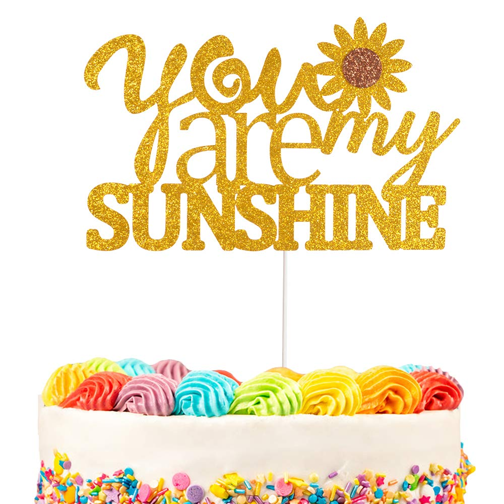 You Are My Sunshine Cake Topper Decorations with Sunflower for Sunshine Theme Wedding Baby Shower Kids Birthday Party Decor Supplies Gold