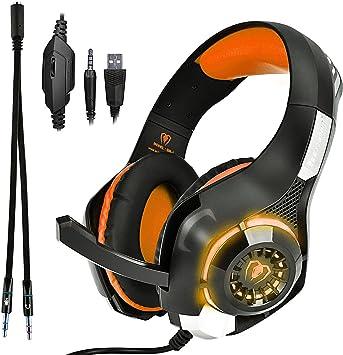 Beexcelente GM-1 - Auriculares de Diadema con Cable de 3,5 mm para PS4, Xbox One, PC, Ordenador portátil, Tableta, teléfono Celular (Naranja): Amazon.es: Informática