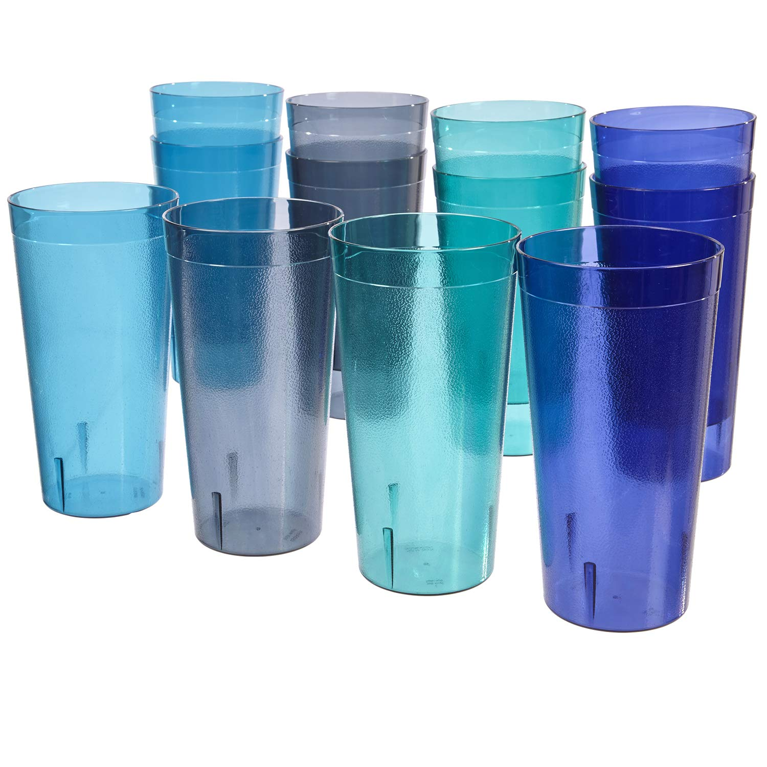 Café 32-ounce Plastic Restaurant-Style Tumblers | set of 12 in 4 Coastal Colors by US Acrylic