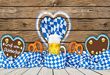 9x6ft Photography Backdrop Oktoberfest Beer Pretzel Carnival/Oktoberfest Bavarian/Flag/Rustic Wooden Board Backdrops for Photography Portrait Photo Shoot Vinyl Studio Photo Background