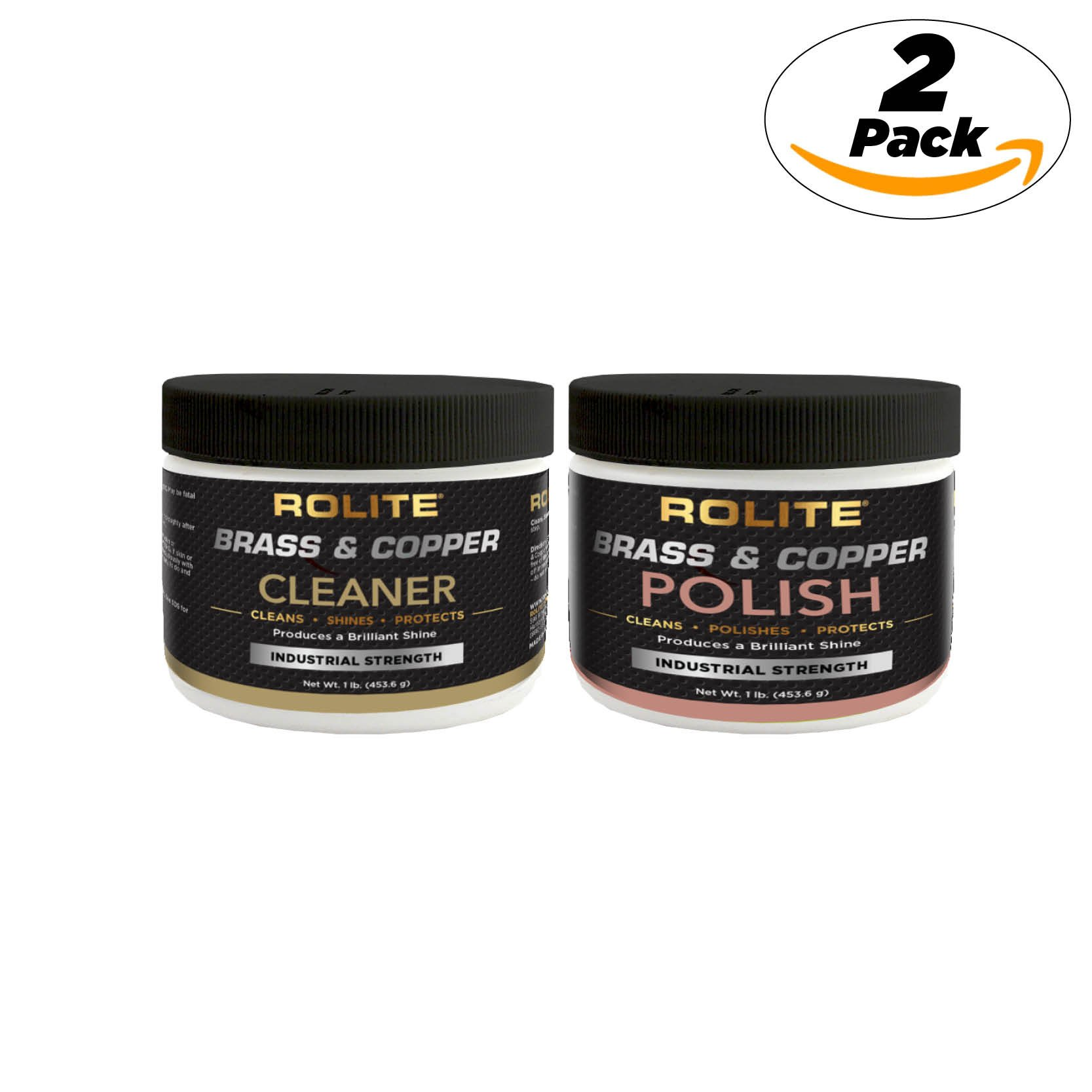 Rolite Brass & Copper Cleaner & Brass & Copper Polish (1lb) for The Ultimate Clean & Shine on All Metal Surfaces Combo Pack