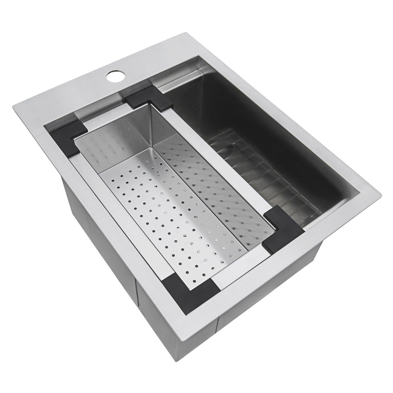 Ruvati 15 x 20 inch Workstation Drop-in Topmount Bar Prep RV Sink 16 Gauge Stainless Steel - RVH8210 by Ruvati