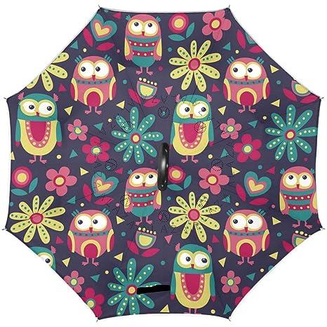 20584982380b0 Amazon.com : Wamika Funny Owl Reverse Umbrella Double Layer Flowers ...