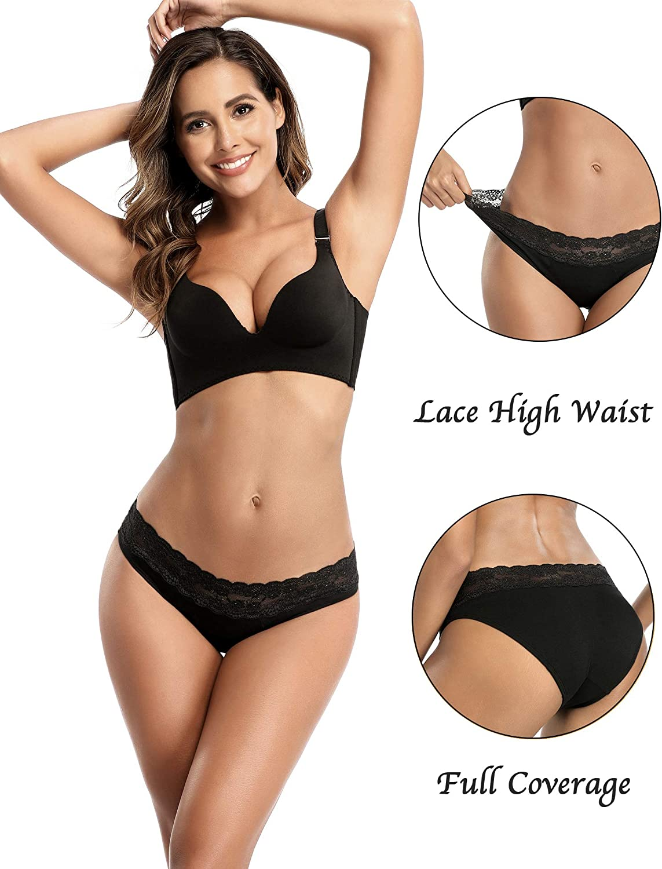 3Black XXL Kopole 3Pack Period Underwear Women Teen Girls Organic Cotton Period Panties Lace Menstrual Bikini Incontinence Maternity Panty